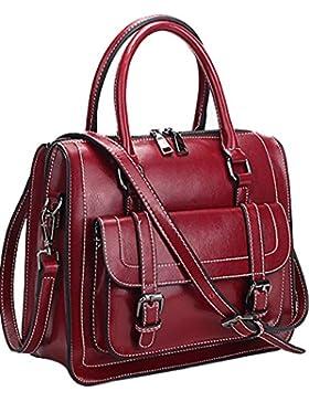 Menschwear Damen Echtes Leder Handtasche Elegant Taschen 29cm