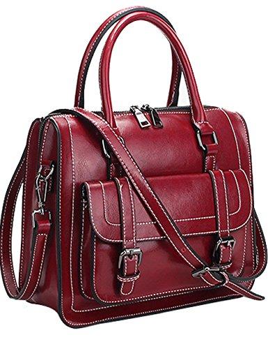 Handtasche Taschen Schwarz Leder Elegant Rot Damen Echtes Menschwear qZg1Pt