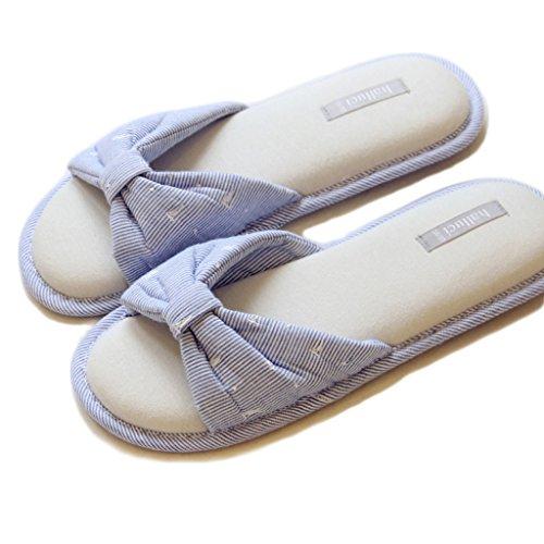 Fortuning's JDS Femmes Dames Femmes Coton Maison Pantoufles Élégant arc Flops forme plate Sandales à talon ouvert Bleu