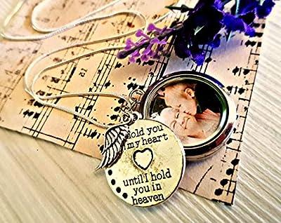 Médaillon en verre avec chaîne en argent sterling - cadeau de sympathie bijoux médaillon photo avec boite cadeau pendentif gravé