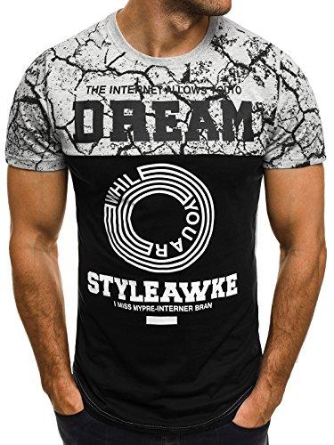 OZONEE Herren T-Shirt mit Motiv Kurzarm Rundhals Figurbetont ATHLETIC 1026 Grau_JS-SS104