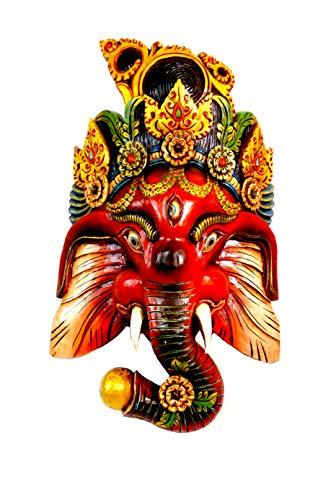 Wandmaske Ganesh Handgemachte Holzmaske aus Nepal 60x40 cm (Rot)