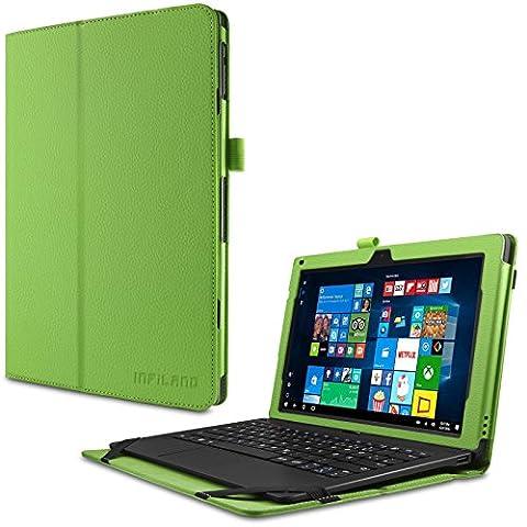 TrekStor SurfTab twin 11.6 Hülle Case -Infiland Slim Fit Folio PU-lederne dünne Kunstleder Schutzhülle Cover Tasche für TrekStor SurfTab twin 11.6 Volks-Tablet, 29,5 cm (11.6 Zoll 2in1 Tablet-PC) (mit Auto Schlaf / Wach Funktion,Tablet und Tastatur sind nicht entgehaltet) (Grün)