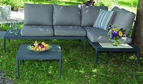 acamp swan Lounge Set 3-teilig Gartenmöbel, Anthrazit/Grau, 158x74x52 cm