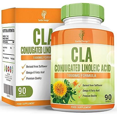 Earths Design CLA 1000, Acido Linoleico Coniugato puro, integratore ad alta efficacia per perdere peso in modo sano, pasticche ulta potenti per ridurre la massa grassa, 90 capsule