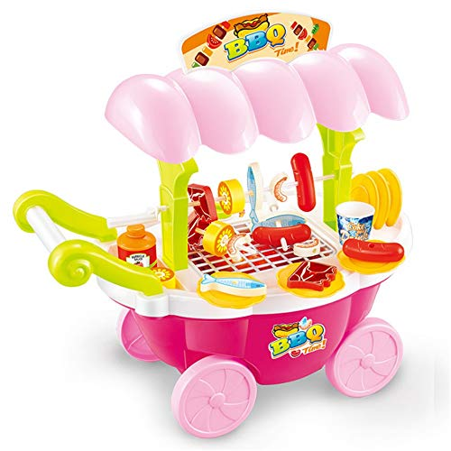 Hot Dog Kostüm Junge - Interessantes Spielzeug für Kinder Pretend Play Lebensmittel BBQ Hot Dog Fisch Fleisch Wagen Trolley Set Spielzeug mit Musik und Beleuchtung für Kinder und Mädchen Pretend Play Spielzeug Bestes Geburt