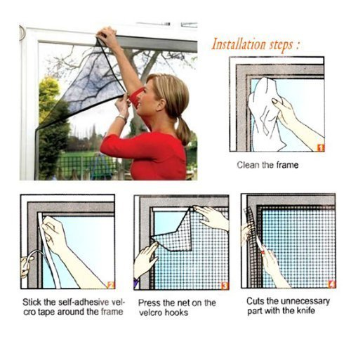 zizzi Fenêtre moustiquaire en Maille Velcro Net Filet Moustiquaire Protection Bug Fly Moth