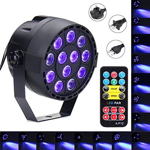 DADEQISH 36W 12 LED UV lila DMX Par Licht Disco Bar DJ Licht Show Bühnenbeleuchtung für Halloween AC90-240V Innenlicht (Color : EU Plug)