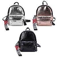 Fugift Women Girls Metallic Mini Backpck School Bag Rucksack Travel Casual Daypack