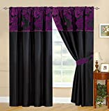 "Black Purple Curtains Royal Damask Curtains Pencil Pleat Faux Silk Curtains 66x72"" (W168cm x L183cm) + tiebacks"