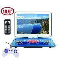 "Portable DVD Player 16.9""Swivel Screen, HD display, HD 3D, Support Multi-Format, Region Free, Long Lasting Battery, Support AV-in/AV-Out/SD/USB (Random Color)"