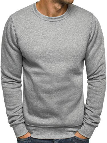 OZONEE Herren Sport Fitness Training Crewneck Täglichen Modern Sweatshirt Langarmshirt Pullover Warm Basic J. Style 2001-10 XL GRAU