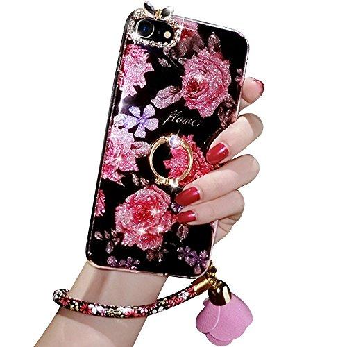 360 Grad Ständer Flex Handyhülle Sunroyal Handyhülle für iPhone 7 (4.7 zoll) Diamant Bling Schutzhülle Ultra Dünn Handytasche Soft Hülle Stoßdämpfende Kristallklar Tasche Leichte TPU Silikon Zurück An A01