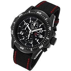 Armourlite AL43-KBR Men's Professional Black Dial Black Kevlar Fabric Strap Green Tritium Fill Chrono Watch