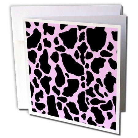 3dRose gc_15425_1 Grußkarten, Kuh-Druck, 15,2 x 15,2 cm, Rosa, 6 Stück - Kuh Grußkarten