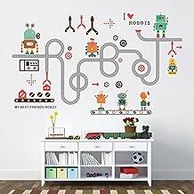 ufengke® Dibujos Animados Robot Calcomanías De Pared, Vivero Habitación de los Niños Removible Etiquetas de la Pared Murales