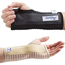 Transpirable Muñequera elástica con férula- Perfecta para curar el síndrome de túnel carpiano, fracturas de muñeca, distensiones de muñeca o lesiones por esfuerzo repetitivo- Negra o beige (Negro, Mediana Derecha)