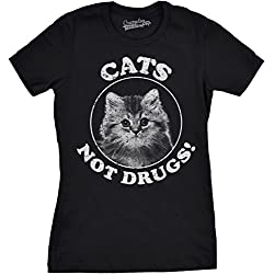 Crazy Dog Tshirts - Womens Cats Not Drugs Funny Crazy Cat Person Anti Drug Meow Kitty T Shirt (Black) L - Camiseta Para Mujer