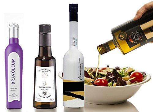 4.- Pack gourmet de 4 aceites oliva virgen extra de 250 ml cada botella Escornalbou, Palacio de los Olivos, Claramunt Frantoio y Bravoleum picual. Desde oleumbox te presentamos estos 4 excelentes aceites con aromas y sabores intensos.