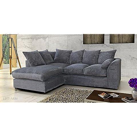 (Reino Unido stock) Porto Jumbo esquina sofá, sillas, completa felpilla cordel Tejido en gris, tela, Gris, Jumbo Cord Gery