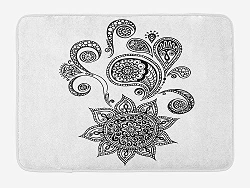 Henna Bath Mat, Flowers and Paisley Doodle Tattoo Pattern Islam Culture Inspiration Monochrome Image, Plush Bathroom Decor Mat with Non Slip Backing, 23.6 W X 15.7 W Inches, Black White
