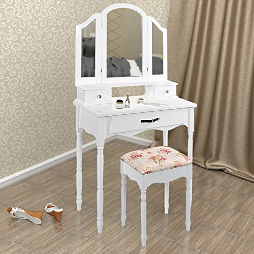 Schminktisch Frisierkommode Frisiertisch Kosmetiktisch mit Hocker, Schwenk-Spiegel und 3 Schubladen, Weiß, Holz