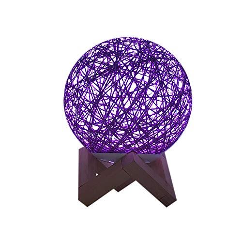 NINGSANJIN USB Lampe Table rotin Lampe Chevet 15cm Version de Gradation Multicolo