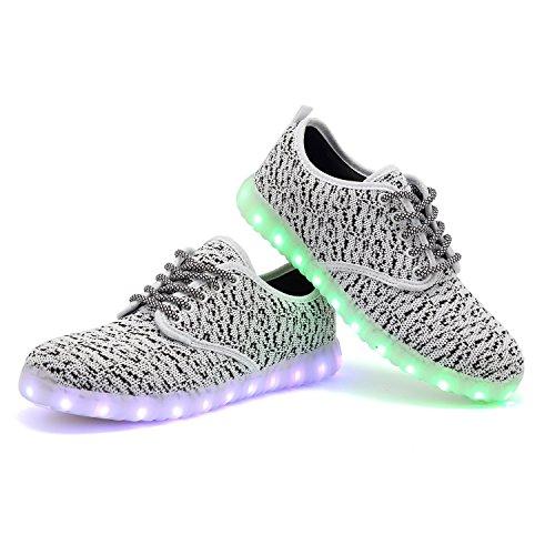 TULUO Männer u. Frauen schnüren sich oben LED-leuchtenden Turnschuh-beiläufige Schuhe USB-aufladende helle blinkende Schuhe Frühlings-Sommer-Geliebt-Schuhe White