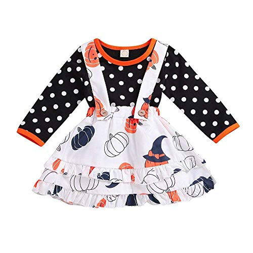 (Fuxitoggo Niedlichen Kleinkind Baby Mädchen 2PSC Halloween Kürbis Printed Layered Kleid und Polka Dot Printed Langarmshirts Bogen Dekoration Kleid Outfits Kleidung Sets)