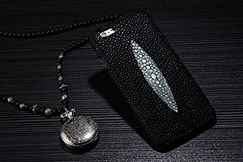 Coque iPhone 6/6s , iNenk®Stingray boîtier peau perle véritable manchon protecteur Etui cuir personnalisé de luxe Téléphone Mobile Shell ensembles-noir