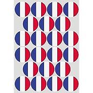 22 Klebepunkte als Länderflagge Frankreich, 50 mm, aus PVC Folie, wetterfest, Markierungspunkte, Aufkleber, Fahne, Flagge