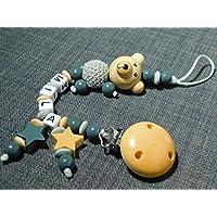 Schnullerkette mit Namen, Teddy/Bärchen-3 farbig mit Sternen
