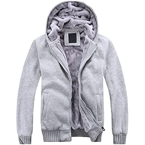 Win8Fong pantalones de invierno de espesor de terciopelo con capucha cremallera sudaderas con capucha Sudaderas Abrigo