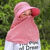 QIER-MZ Frauen Hut Faltbare Sommer Herbst Outdoor Uv-Visor Winddicht Hut Halskappe Cover Gesicht Reiten Kappe Rot