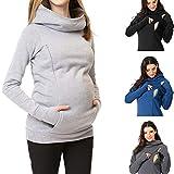 QinMM Sudadera de Lactancia con Capucha Cuello Alto Maternidad premamá para Mujer Embarazada Hoodie Pullover Tops con Cremallera Invierno Abrigo