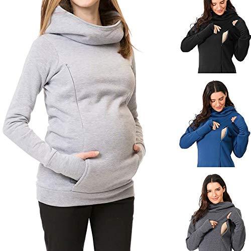 Damen Umstands Kapuzenpullover Warm Stillpullover Schwanger Hoodie Sweatershirt Schwangerschaft Klassisch Einfarbig Maternity Langarmshirt Oberteile Tops mit Tasche Schwarz Grau