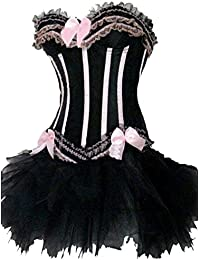 Forever Young Ladies Burlesque Moulin Rouge Corset + Tutu Sexy 2 Piece Fancy Dress Costume Pink With Black Stripes Bustier Lingerie Corset Halloween Hen Party Outfit