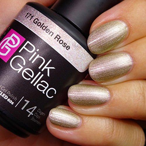 Vernis à ongles Pink Gellac 171 Golden Rose. 15 ml gel Manucure et Nail Art pour UV LED lampe, top coat résistant shellac