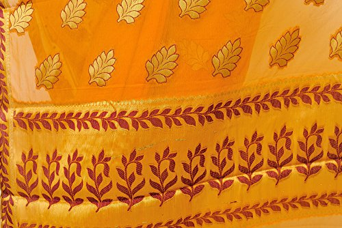 Exotic India Chiffon Saree from Mysore with Hand-woven Leaves in Golden Thread...