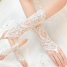 Distinct® Vestido de Novia de la Boda sin Dedos Rhinestones Encaje Guantes de Satén Blanco
