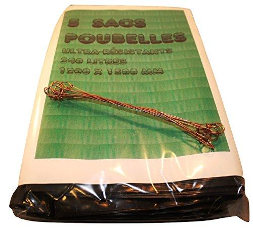 5 Sacs Poubelle Grande Contenance, Sac à Ordure extra-fort 240L, 120 x 150 cm, Très résistants + 10 Fils de fermeture
