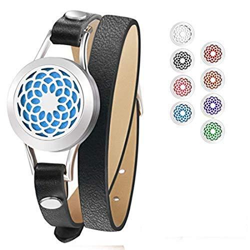 Bracelet de diffusion d'huile essentielle, ceinture en cuir de bracelet en acier inoxydable avec des cadeaux d'anniversaire créatifs pour femmes, amies, mères, soulager la fatigue,Black