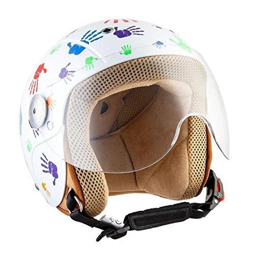 SOXON SK-55 Kids Color Hands · Helmet Urbano Vintage Retro Pilot Chopper Vespa Biker Mofa NINOS Moto motocicleta Urban Casco Jet Kids Bobber Cruiser Scooter Mini-Jet · ECE certificado · visera incluido · incluyendo bolsa de casco · Blanco · S (53-54cm)