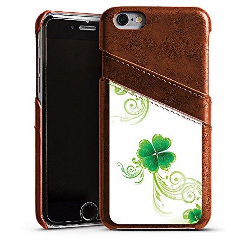 Apple iPhone 4 Housse Étui Silicone Coque Protection Trèfle Fleur Fleur Étui en cuir marron