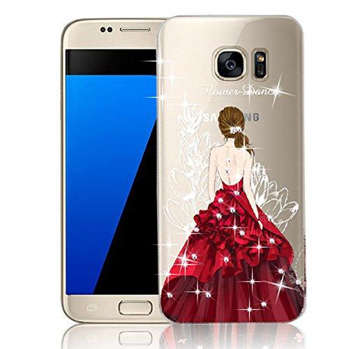 Vandot Etui Transparent Case pour Samsung Galaxy S7 Edge Coque de Protection en TPU Gel Invisible avec Absorption de Chocs Etui TPU Silicone Case Ultra Slim Thin Hull pour Samsung Galaxy S7 Edge Soupl Robe-Rouge