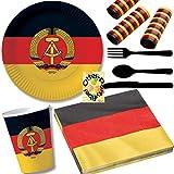 HHO Nostalgie Ostalgie DDR Party-Set 111tlg. für 16 Gäste : Teller Becher Servietten Luftschlangen Besteck