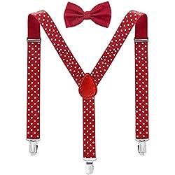 ZWOOS Tirantes Elástica Ajustable Y-Forma Para Hombre Y Mujer con Pajarita para Hombre y Mujer (rojo y blanco)