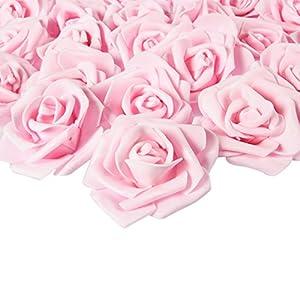 Juvale – 100 rosas artificiales para decoración de boda, baby shower, manualidades, color rosa claro, 7,6 x 3,2 x 7,6 cm