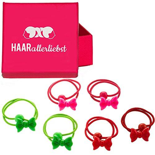 6 Haargummis Haaraccessoires mit Schleifen für Kinder passend zu Weihnachten in pinker Box von HAARallerliebst (Passend Schleife)
