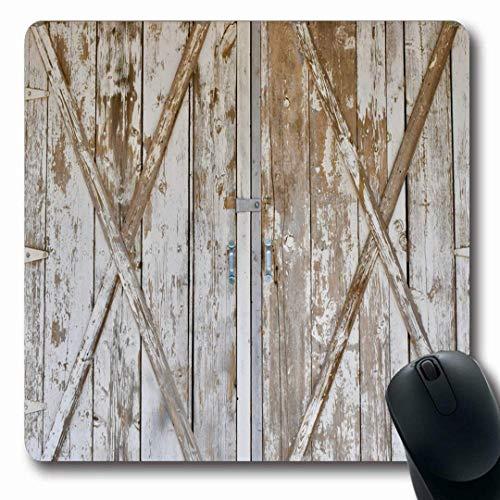 Mousepads Weiß Distressed Holz Scheunentor Paneele Antique Vintage Farm Rustikale Tor Holz Design Längliche Form Rutschfeste Gaming Mouse Pad Gummi Längliche Matte,Gummimatte 11,8